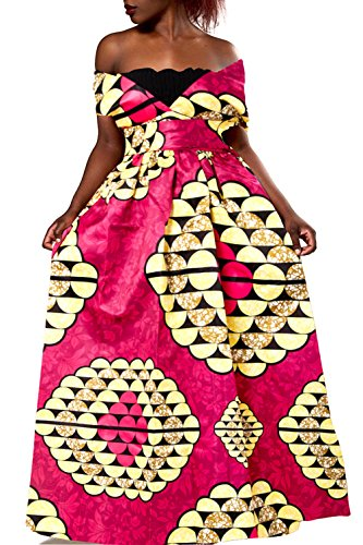 Uideazone Womens African Dress Formal Prom Dashiki Print Sleeveless Peplum Maxi Dress by Uideazone