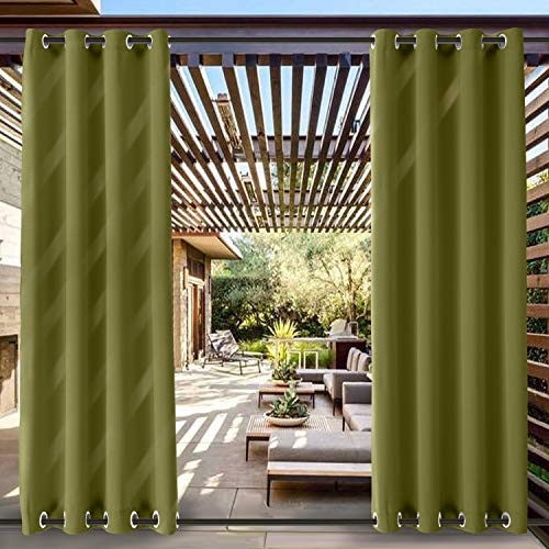 ChadMade Windproof Outdoor Curtain with Top Bottom Grommet Olive 52