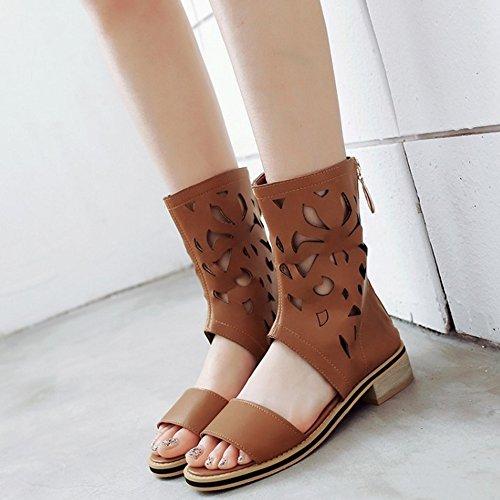 COOLCEPT Mujer Moda Ankle Wrap Sandalias Punta Abierta Tacon bajo Zapatos With Cremallera Amarillo