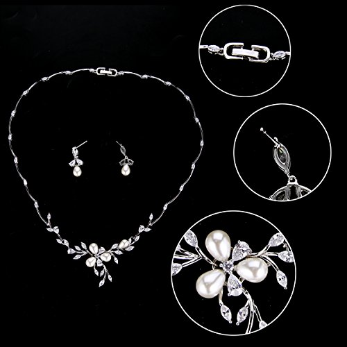 EVER FAITH Marquise CZ Simulated Pearl Bridal Flower Leaf Filigree Necklace Earrings Bracelet Set 5