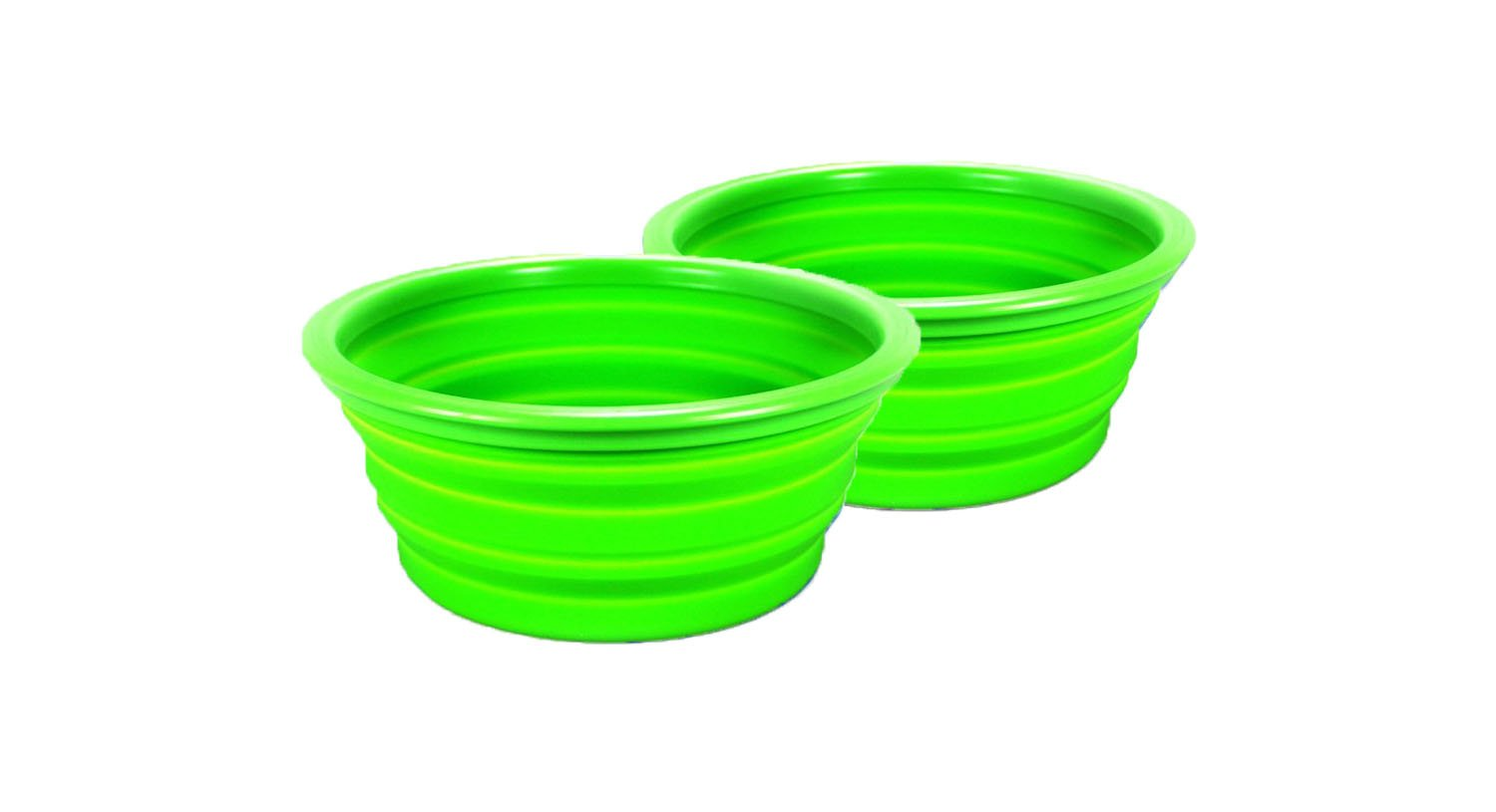 2 x Silicone Baking Bowl Camping Folding Picnic Outdoor Hiking Backpack Green big buddy