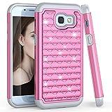 Samsung A5 2017 Case, Galaxy A5 2017 Cute Case For Girls Women, TILL(TM) Studded Rhinestone Crystal Bling Diamond Sparkly Luxury Shock Absorbing Hybrid Defender Rugged Slim Glitter Case Cover [Pink]