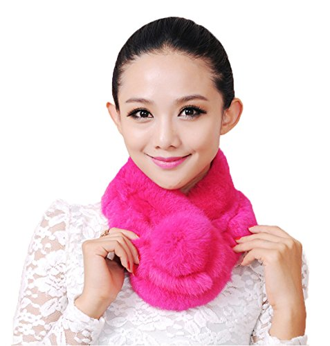 - URSFUR Warm Women's Rex Rabbit Fur Scarves Scarf Multicolor (Rose Red)