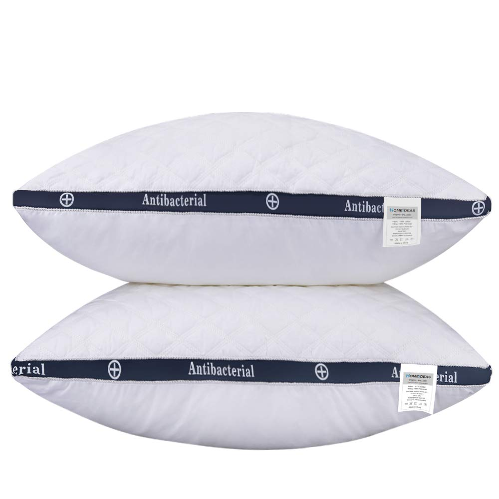 HOMEIDEAS 100% Cotton Hotel Down-Alternative Pillows, Bed Pillows for Sleeping Soft Comfort Levels - 3D Shape Relief Neck Pain (Pack of 2, Queen Size) D01V158B