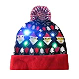 BaZhaHei LED Light-up Knitted Ugly Hats Holiday Xmas Christmas Beanie Character Unisex Party Caps with Lights