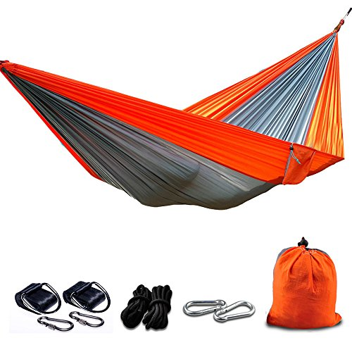 BIAL Camping Hammocks, Portable Nylon Garden Hammocks with Tree Straps for Hiking Backpacking Travel Beach Yard Patio Outdoors