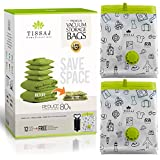 Vacuum Storage Bags Space Saver - Premium Reusable 100 Microns 12 Pack Bundle (Medium + Large + Extra Large + Jumbo - Each 3nos) + Free Hand Pump - Compression & Shrinks Upto 80% - For Home & Travel
