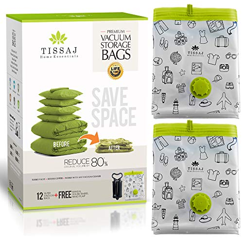 - Vacuum Storage Bags Space Saver - Premium Reusable 100 Microns 12 Pack Bundle (Medium + Large + Extra Large + Jumbo - Each 3nos) + Free Hand Pump - Compression & Shrinks Upto 80% - For Home & Travel