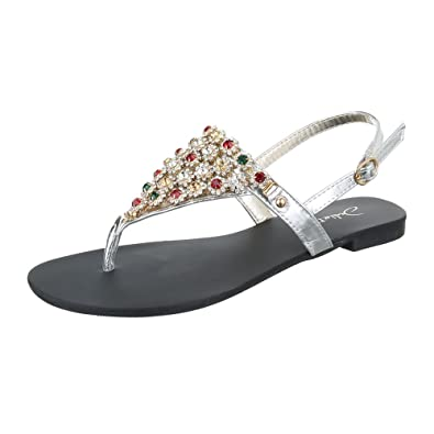 Ital-Design Zehentrenner Damen Schuhe Peep-Toe Blockabsatz Strass Besetzte Schnalle Sandalen/Sandaletten Silber, Gr 39, Hj99-28-