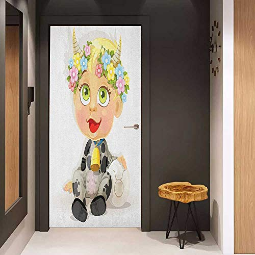 Onefzc Automatic Door Sticker Zodiac Taurus Happy Baby with Little Horns and Flowers Cow Bell and Costume Kids Cartoon Easy-to-Clean, Durable W35.4 x H78.7 Multicolor