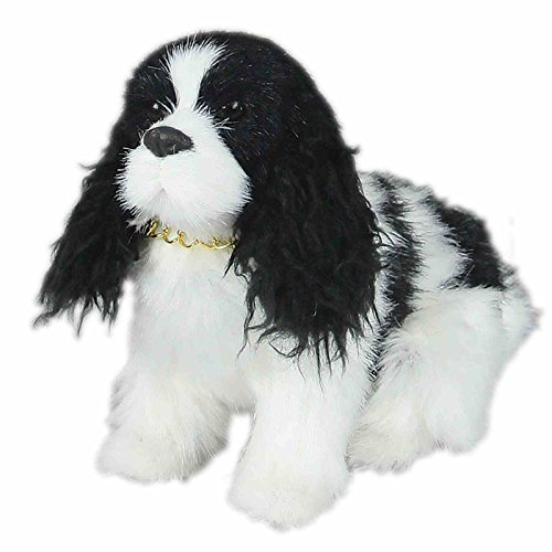 """The Queen's Treasures AWSOM Pets! Springer Spaniel Puppy Dog Pet Friend with Leash and Collar For 18 Inch Girl Dolls Like American Girl. Animals and Accessories Designed for 18"""" Girl Dolls. - Black & White Springer"""