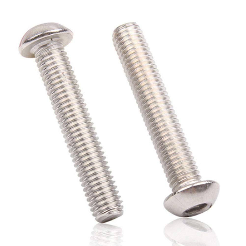 304 Acier Inoxydable Cylindrique Vis /à T/ête Ronde M/étrique Fil Attaches Outils Boulons M8 Daytwork Boulon Vis a Six Pans Creux