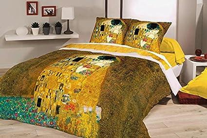 Parure Copripiumino Matrimoniale Klimt.Deco Italia Set Copripiumino Copriletto Klimt Il Bacio 100 Cotone Matrimoniale 250 X 240 Cm 2 Federe 50 X 80 Cm