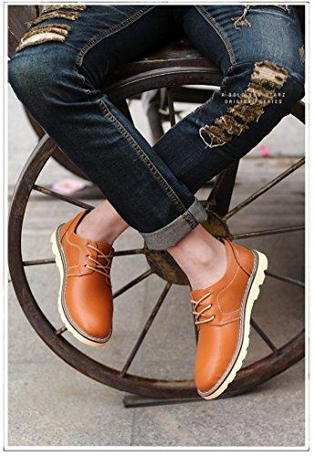 Rainstar Mens Cowskin Lage Top Mode Sneaker Lace Up Casual Zakelijke Schoen Bruin
