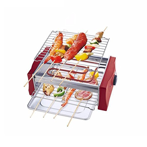 (ZZ-aini Electric grills Smokers Portable BBQ, Camping Picnicking Table top Balcony-red 36x21.4x13cm)