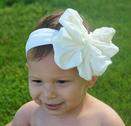 Baby Bow Headband - White Floppy Bow - Messy Bow Head Wrap - Big White Bow