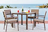 Solaura Outdoor Square 5-Piece Dining Set All Weather Steel Powder Coated Frame with Neutral Beige Water-Resistant Cushions & Dining Table | Patio, Backyard, Pool