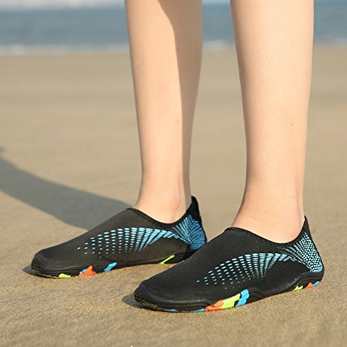 BIGU Water Shoes Mens Womens Barefoot Shoes Beach Snorkeling Swimming Quick Drying Slip On Yoga Shoes Skin Socks for Unisex Sports Aqua Shoes for Walking,Park,Boating Black-lb