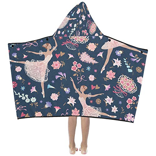 Dancing Ballerinas With Pink Glorious Rose Flower Soft Warm Cotton Blended Kids Dress Up Hooded Wearable Blanket Bath Towels Throw Wrap For Toddlers Child Girls Boys Size Home Travel Picnic Sleep ()