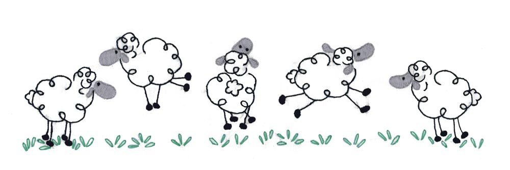 Design Works Crafts T232142 Tobin Running Sheep 20'' x 30'' Stamped Pillowcases for Embroidery