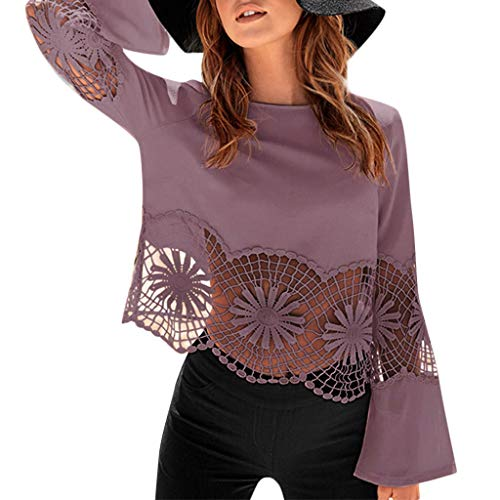HIRIRI Women Round Neck Blouse Elegant Sexy Flare Sleeve Hollow Out Ladies Shirt Beautiful Pattern Tank Tops Purple