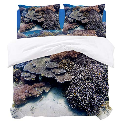 - KAROLA 4 Piece Duvet Cover Set Queen Size,Submarine Colored Coral Group(90 by 92 inch),Luxury Bedding,Duvet Sets with 1 Bed Sheet,1 Quilt Cover and 2 Pillowcases,Multiple Colors