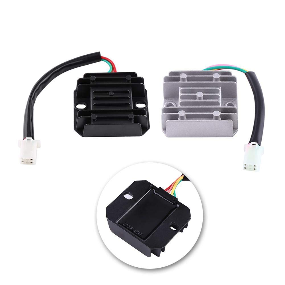White Motorcycle Voltage Regulator 4 Wires 4 Pins 12 Voltage Regulator Rectifier for 150-250CC Motorcycle Scooter Moped ATV