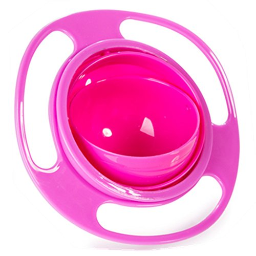 Aomeiter Gyro Bowl- Spill Resistant Kids Gyroscopic Bowl with Lid Non Spill Bowl Pink