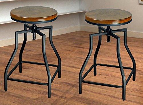 Stools Seat Wood - eHemco 24-29'' Adjustable Metal Barstool with Wood Veneer Seat (2)
