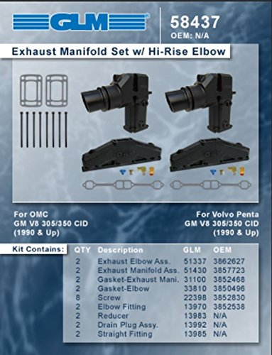 Glm Marine - GLM Marine COMPLETE EXHAUST MANIFOLD SET 1990 and UP OMC Volvo Penta 5.0L 305 & 5.7L 350 with 11.3
