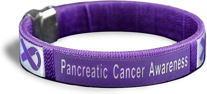 2x Support Pancreatic cancer Lupus Crohn's purple ribbon stretch wristband 7in