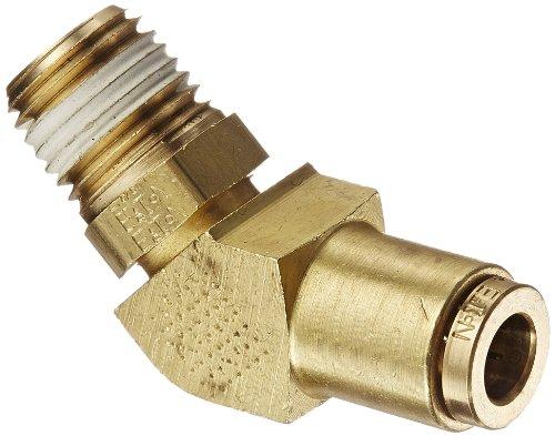 (Eaton Weatherhead 1880X4X4S Brass CA360 D.O.T. Air Brake Tube Fitting, Swivel, 45 Degree Elbow, 1/4