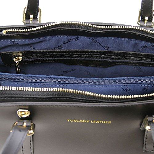 Tuscany Leather Aura Bolso noche en piel Ruga Rojo oscuro Bolsos con asas Negro