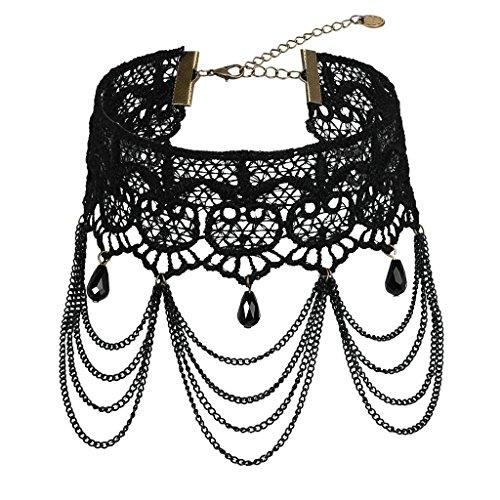 Epinki Women Choker (Adjustable), Lace Strawberry Tassel Chain Broadband Masque Choker Black, 29 cm