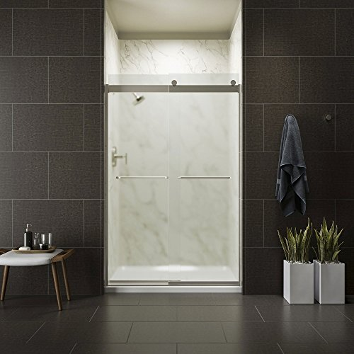 KOHLER K-706014-D3-MX Levity Bypass Shower Door with Towel Bar and 3/8-Inch Frosted Glass in Matte Nickel
