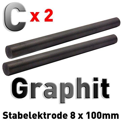 2 Stü ck Graphit-Stab-Anoden/Elektroden (100 x 8 mm) fü r Stiftgalvanik Tampongalvanik 10cm Polymet - Reine Metalle.