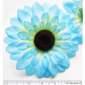 "(2) Silk Blue Big Sunflowers sun Flower Heads , Gerber Daisies - 5.5"" - Artificial Flowers Heads Fabric Floral Supplies Wholesale Lot for Wedding Flowers Accessories Make Bridal Hair Clips Headbands Dress 85"