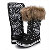 Kingshow Women's Globalwin 1707black Print Waterproof Winter Boots - 7 D(M) US Women's