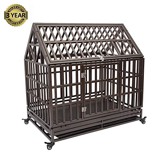 Haige Pet Your Pet Nanny 38'' Heavy Duty Roof Dog Crate Cage Kennel and Playpen Steel Strong Metal for Medium and Large Dogs with Patent Lock and Four Lockable Wheels, Black