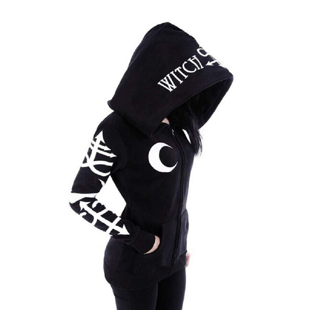 Cimeiee Women Gothic Punk Witch Print Slim Long Sleeve Zipper Tracksuit Hoodie