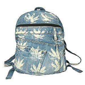 BDJ Upcycling Denim Backpack Rucksack Schoolbag Ipad Bag Bookbag Handbag