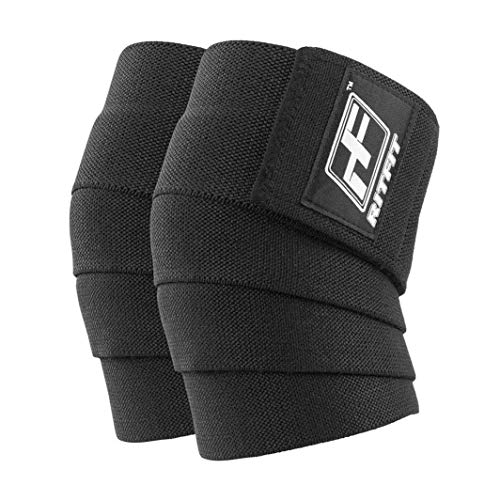 RitFit Knee Wraps (Pair)-Ideal for Squats, Powerlifting, Weightlifting, Cross Training WODs & Gym Workout - Compression&Elastic Support - for Men & Women - Bonus Carry Case (Black)