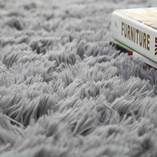 bedee Teppiche Kunstfell Fell Teppich Grau Fellimitat Bettvorleger Sofa Matte Super weich Teppich für Wohnzimmer Schlafzimmer Kinderzimmer Auto Esszimmer Fluffy Kindermatte (120 x 160 cm)