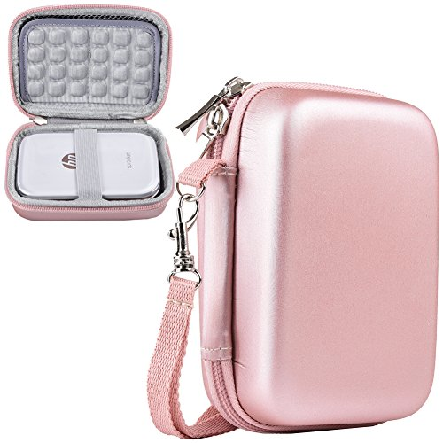 (SAIKA Shockproof Travel Carrying Hard Case Storage for HP Sprocket Portable Photo Printer(2nd Edition) / Polaroid Zip Mobile Printer/Lifeprint 2x3 Portable Protective Pouch Box - Rose Gold)