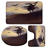 3 Piece Bath Mat Rug Set,Horror-Decor,Bathroom Non-Slip Floor Mat,Dark-Soul-From-a-Scary-Movie-Film-on-the-Hills-with-Clouds-and-Flying-Crows-Print,Pedestal Rug + Lid Toilet Cover + Bath Mat,Black