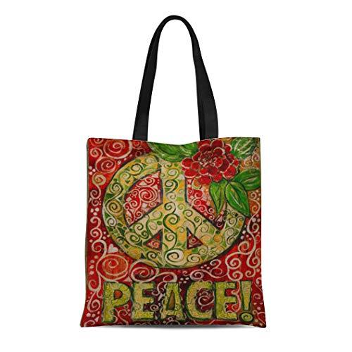 Semtomn Cotton Line Canvas Tote Bag Whimsical Peace Sign Love Hippie Reusable Handbag Shoulder Grocery Shopping Bags