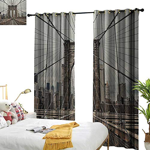 Thermal Beige Cables - WinfreyDecor Blackout Curtains United States View of Historical Famous Brooklyn Bridge and Cable Pattern NYC Architecture Darkening and Thermal Insulating W72 x L96 Beige Brown