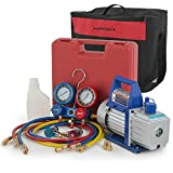 ARKSEN 4CFM Vacuum Pump, Manifold Gauge for R134A Air Condition Refrigerant with Carrying Tote Set
