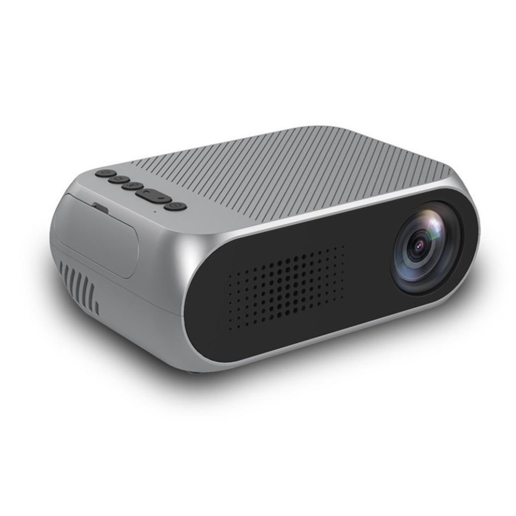 Ximandi 1080P LED Projector HDMI/USB/SD/AV Theater Cinema Portable Projector (Silver, Medium)