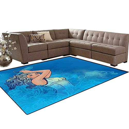 Zodiac Aquarius Bath Mat 3D Digital Printing Mat Sexy Woman Lady Features Stars Beauty Fortune Pattern Extra Large Area Rug 6'6